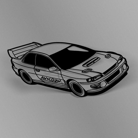 avn.dzn Decal Gloss Black GC8 STI Outline Die Cut