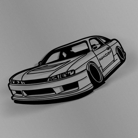 avn.dzn Decal Gloss Black Kouki 240SX Outline Die Cut