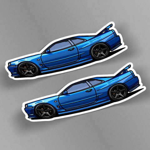 avn.dzn POD Decal R34 GTR Side Profile Slap (Pair)