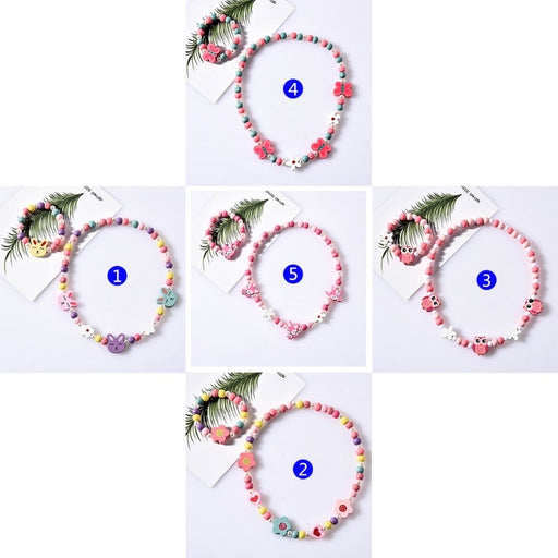 1 Set Children Jewelry Cartoon Necklace Bracelet Kids Candy Color Girls Gifts Children Jewelry Sets Hair Accessories
