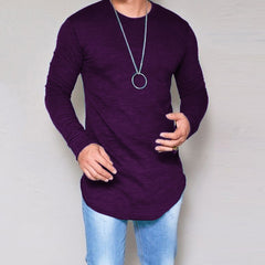 10 Colors Plus Size S-4XL 5XL Summer&Autumn Fashion Casual Slim Elastic Soft Solid Long Sleeve Men T Shirts Male Fit Tops Tee