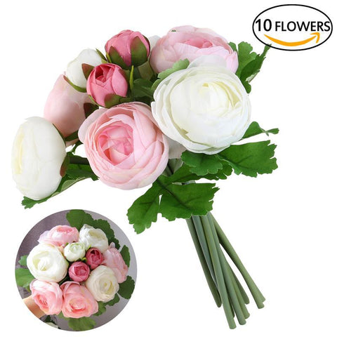10 Heads Artificial Flower pink and white Silk Camellia Flower For Wedding party home Decoration Bridal hand Bouquet of flower