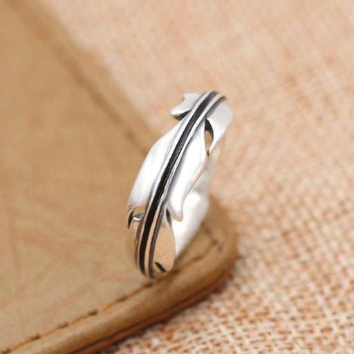 100% 925 sterling silver Engagement Ring 925 for women Christmas gift fine Creative leaves feather ring jewelry G7