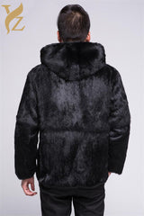 100% Black Natural Rabbit Fur Coat For Men's Warm Winter With Hood Rabbit Fur Jackets Real Fur Coats Overcoat
