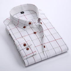 100% Cotton Plaid Shirt men Autumn Casual Long Sleeve camisa Soft Comfort White Slim Fit Checkered Brand big size dress shirt