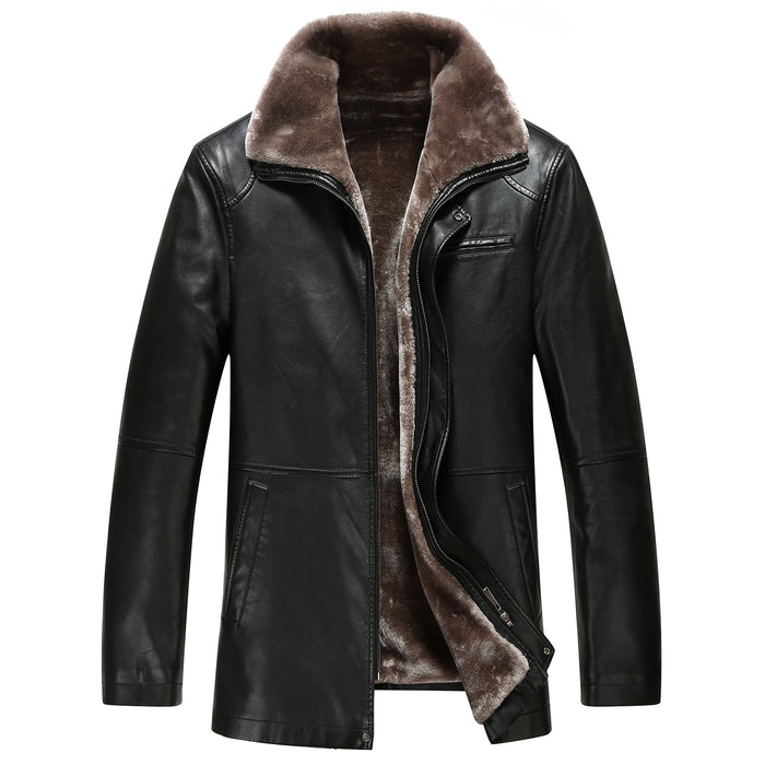 10012 Winter Fur Coat leather jacket male sheep skin leather winter coat men integrated pile with thick warm jacket