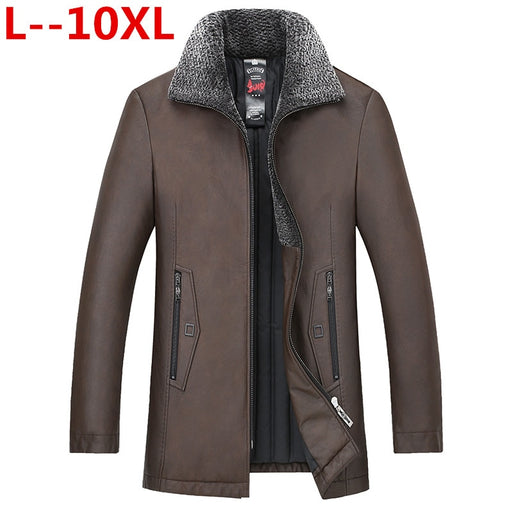 10XL 8XL 6XL New Winter Men Genuine Leather Coat Sheepskin Mink Collar Real Leather Down Coat Men's Leather Jacket Warm Winter