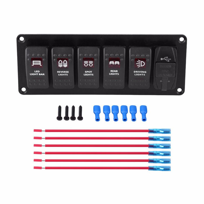 12V-24V 6 Gang Red LED Rocker Switch Panel with 3 1A Dual USB for Car RV  Boat Yacht Marine Boat Switch Panel