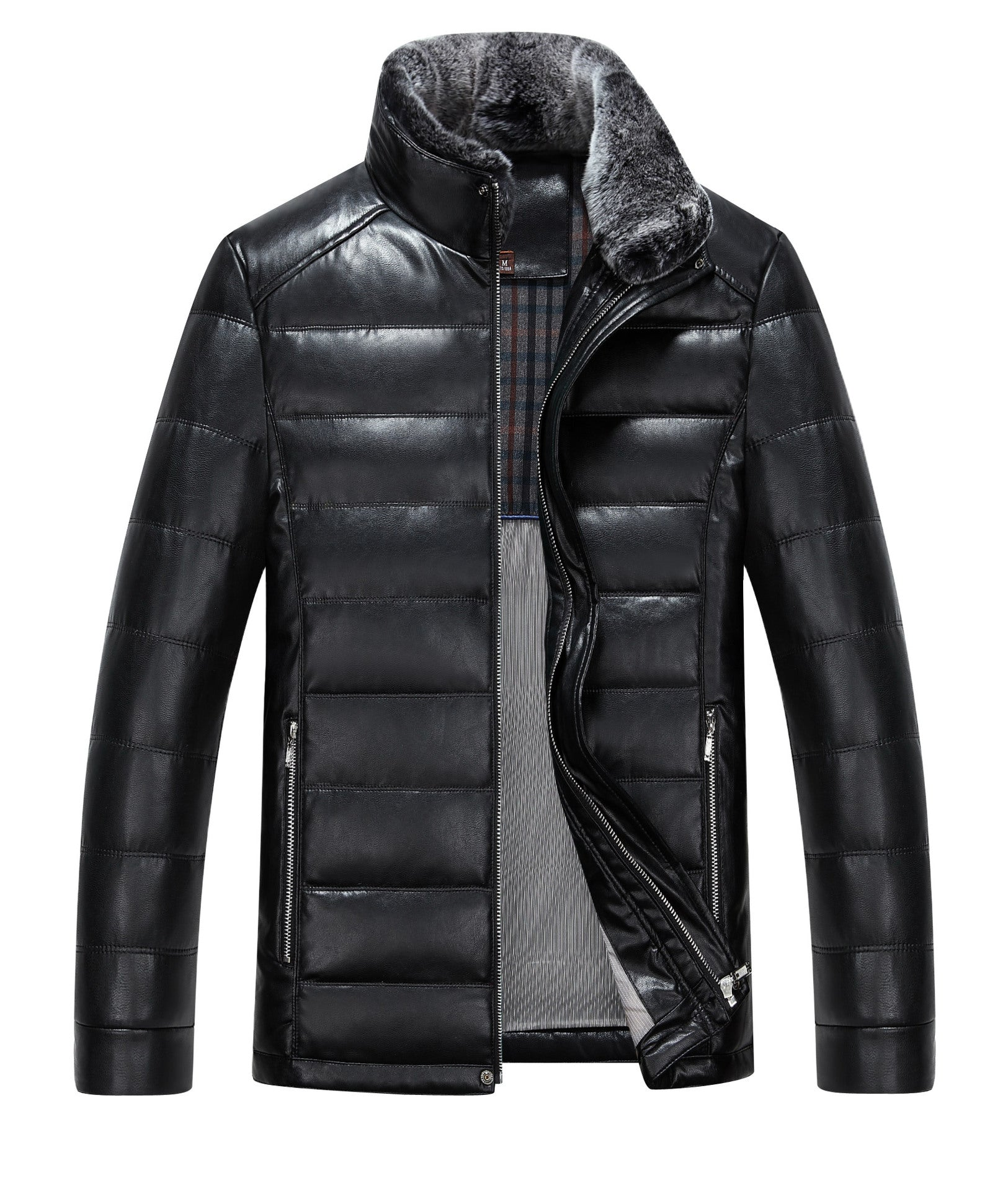 1308 Men winter leather jacket men short slim leather leather coat collar sheep skin thickening Down Jacket Coat