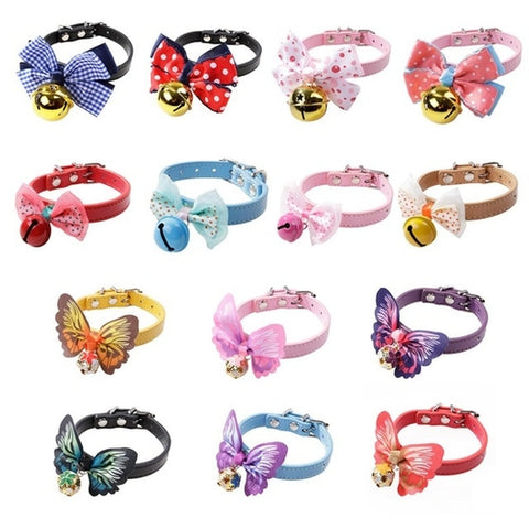 Colors Necklaces Dog Collar With Bell Bow PU Dog