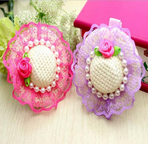 15 new  lace pet head ornaments dog Princess Hat small hairpin  pearl jewelry  accessories