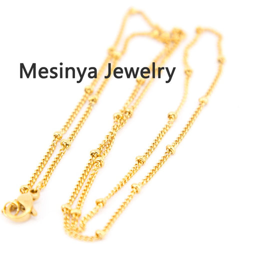 18'' stainless steel gold color welding ball station chain necklace for floating charm glass locket