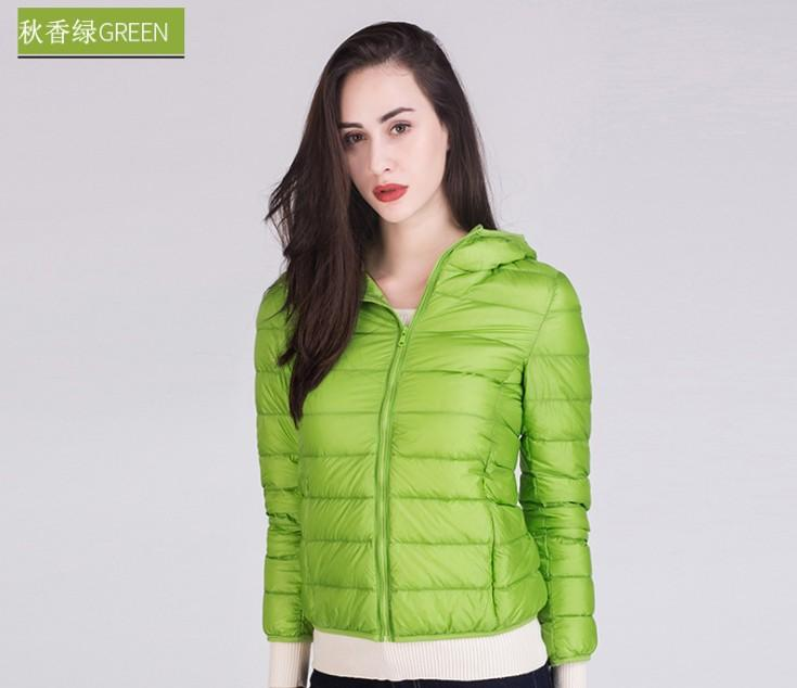 d48f8f3e7 1PC 15 Colors Thin Down Jacket Women Slim Short Coats Hooded Winter  Outerwear Autumn Jackets Spring Coat Z594