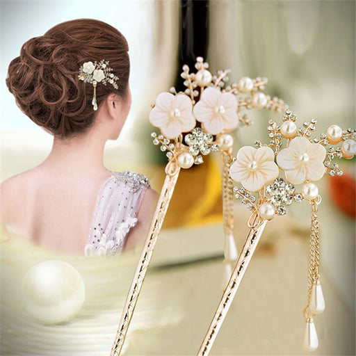 1Pcs Fashion Elegant Women Hair Stick Hairpin Rhinestone Colorful Gift Elegant Hair Pin Fashion Wedding Hair  Jewelry