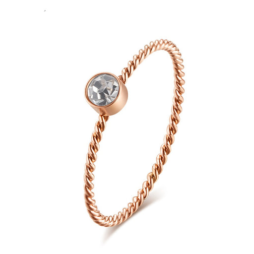 1mm Thin Rose Gold Spiral Rings Women Girls CZ Stone Propose Engagement Ring Fashion Party Jewelry Size 5-9