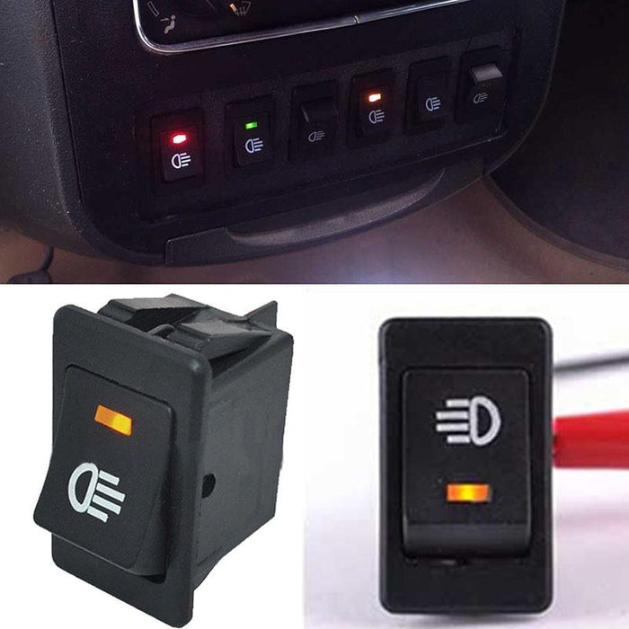 1pc 4 Pins Yellow LED On/Off Rocker Toggle Switch Car Driving Fog Lamp/Work  Light Bar For Vehicle Boat Off-road Rocker Switch