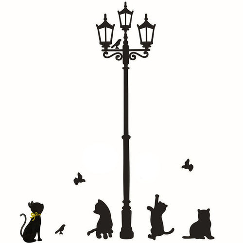 1pc Wall Sticker Cats Street Lamp Lights Stickers