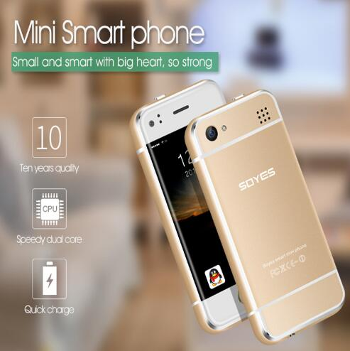 2 Batteries Super Mini Smartphone SOYES 6S Andorid 5.1 MTK6571 Dual Core 1+8GB  Unlocked Pocket Card Student Korea Cell Phones