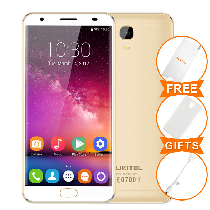 $20 Gift Oukitel K6000 Plus 5.5Inch Android 7.0 MTK6750T Octa Core 4G RAM 64G 6080mAh 12V/2A Quick Charge Fingerprint Smartphone
