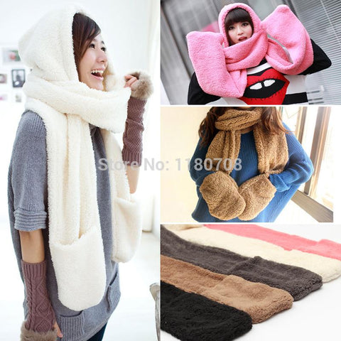 2015 fashion Winter Warm Women Scarf Hoodie Gloves Pocket Earflap Hat Long Scarf Shawl Snood Wraps