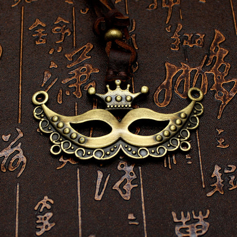 2016 Antique Party Mask  Crown Pendant Mens Real Leather Necklace Charms Pendants Women