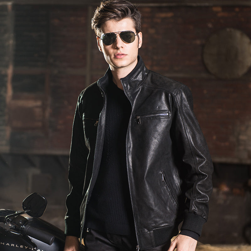 2016 Men's real leather jacket pigskin Genuine Leather jacket men leather coat motorcycle jackets