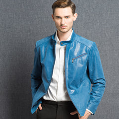 2016 Men's real leather jacket pigskin Genuine Leather jacket men leather coat ocean blue