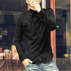 2016 New Autumn spring Cotton Men Shirts Long Sleeve Military Shirt Casual Brand Camisa Masculina Army style Dress Shirt