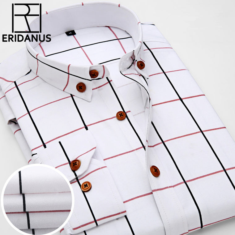 2016 New Oxford Plaid Casual Men's Shirt Slim Fit Formal&Business Occupation Man Shirts Spring Long Sleeve Men Dress Shirt M038