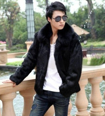 2016 New arrival autumn winter fur coats men whole skin natural rabbit coat outerwear with real fox fur collar free shipping g85