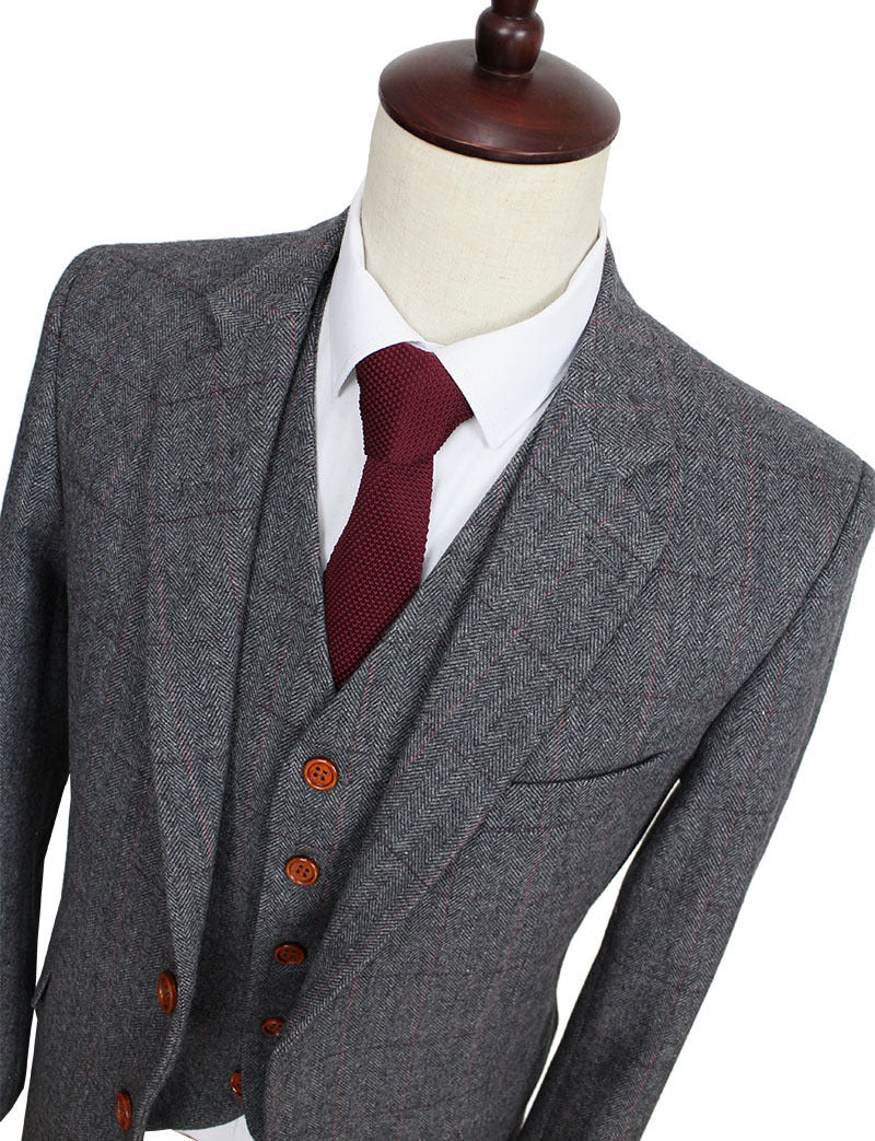2016 Wool Retro Grey Herringbone Tweed British style custom made Mens suit tailor slim fit Blazer wedding suits for men 3 piece