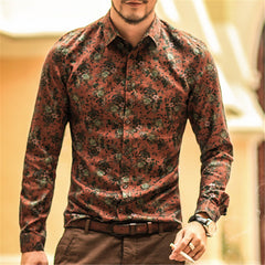 2016 autumn new fashion flower printed long sleeve shirts men camisa male slim flower shirts vintage Linen Casual Men Shirt
