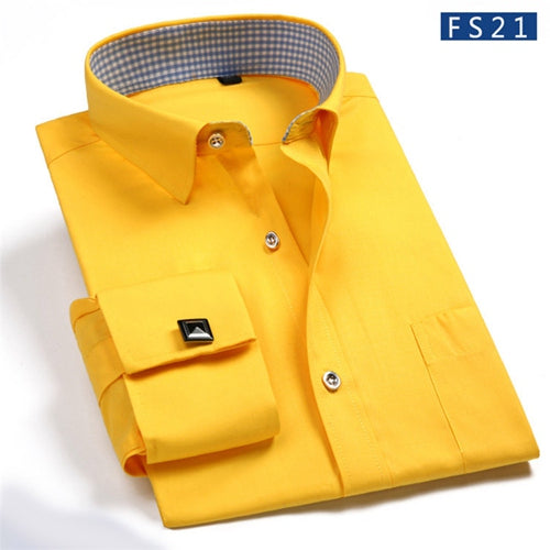 2017 Autumn Fashion Men Dress Shirt Solid Color Brand Formal Men Social Business Casual Long Sleeve Cufflink Shirt Regular Fit