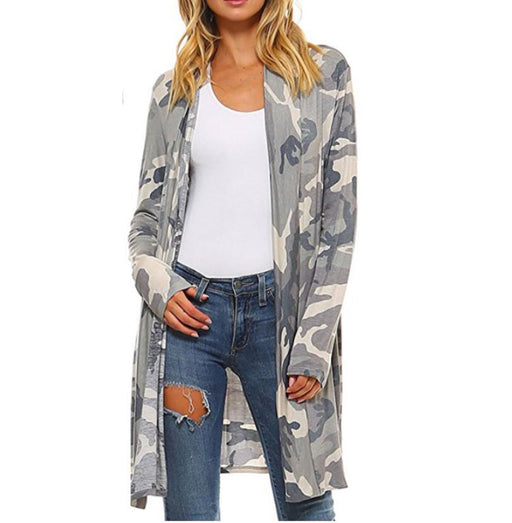 2017 Autumn Long Cardigan Coat Camo Jacket Women Long Sleeve Casual Loose Shirt Jackets Camoflage Coats