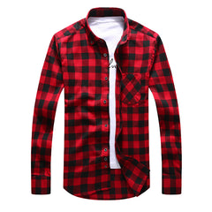 2017 Autumn Men Plaid Casual Shirts Brand Flannel Warm Clothing Button-Down Collar Long Sleeve Thick Red Men Dress Shirts