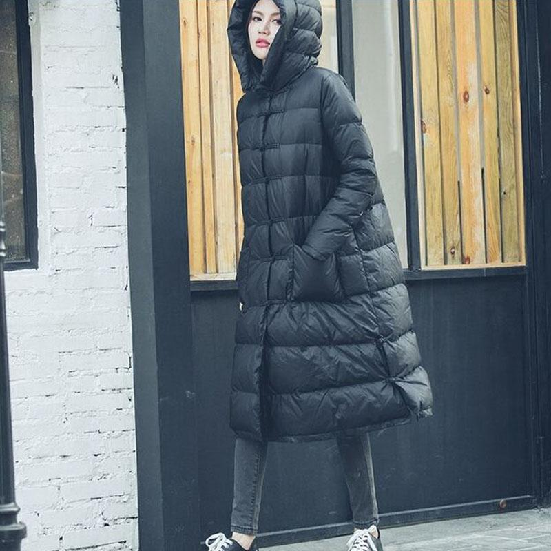 2017 Brand European Style White Duck Down Jacket Warm Hooded Parkas