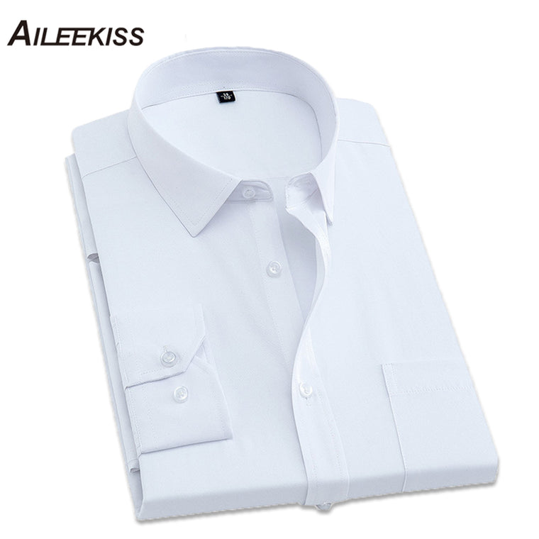 2017 Brand Fit Slim Men Dress Shirts Wedding Business Party Man's Clothing Male Solid White Shirt Mans Long Sleeve Shirts XT566
