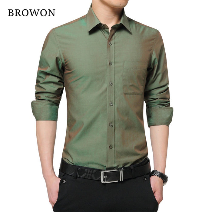 2017 Brand New Mens Dress Shirt Long Sleeve Cool Shirt Candy Color Plus Size 5XL Turn Down Collar Slim Fit Shirt for Men