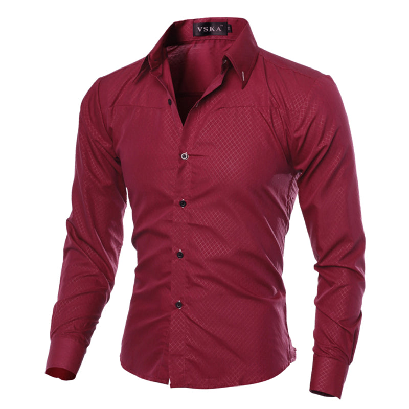 2017 Casual Shirts Men Fashion Long Sleeve plaid shirt camisa masculina Men Shirt Solid Color Shirt Male Brand Clothing M-5XL C1