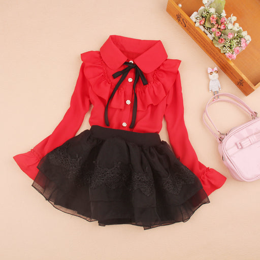 2017 Children Long sleeve blouses Chiffon Autumn Girls Pure color shirts Fashion Kids turn-down collar tops Red Christmas blouse