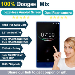2017 Doogee MIX 4G Phablet 5.5 inch Android 7.0 Helio P25 Octa Core 2.5GHz 4GB RAM 64GB ROM Metal Body Front Fingerprint Sensor