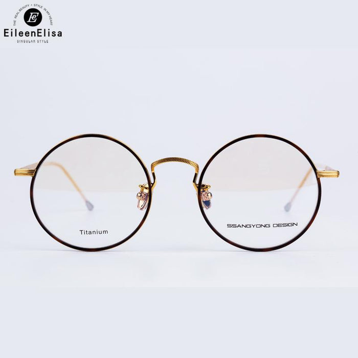 cf145a96052 2017 EE Brand Eyewear Frames Vintage Round Titanium Material Glasses Frames  for Myopia Optical Lens Glasses
