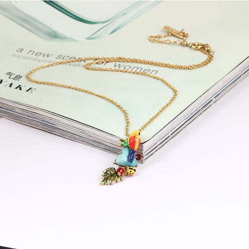 2017 FashioBe Listed Enamel Mix Colar Parrot Blue Pine Shi Shuye Triangle Natural Stone Necklace Gold Clavicle Chain Jewellery
