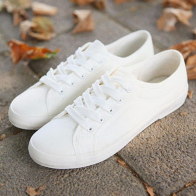2017 Fashion Women Canvas Shoes Low Breathable Women Solid Color Flat Shoes Casual  White Leisure Cloth Shoes Size 36-40