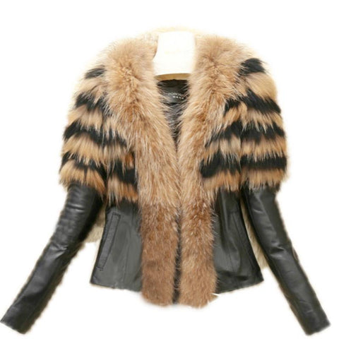 2017 Faux Fur Coat Jacket Womens Winter PU Leather Fur Coats Female Slim Short Fluffy Overcoat Hairy Outerwear Plus Size 6XL