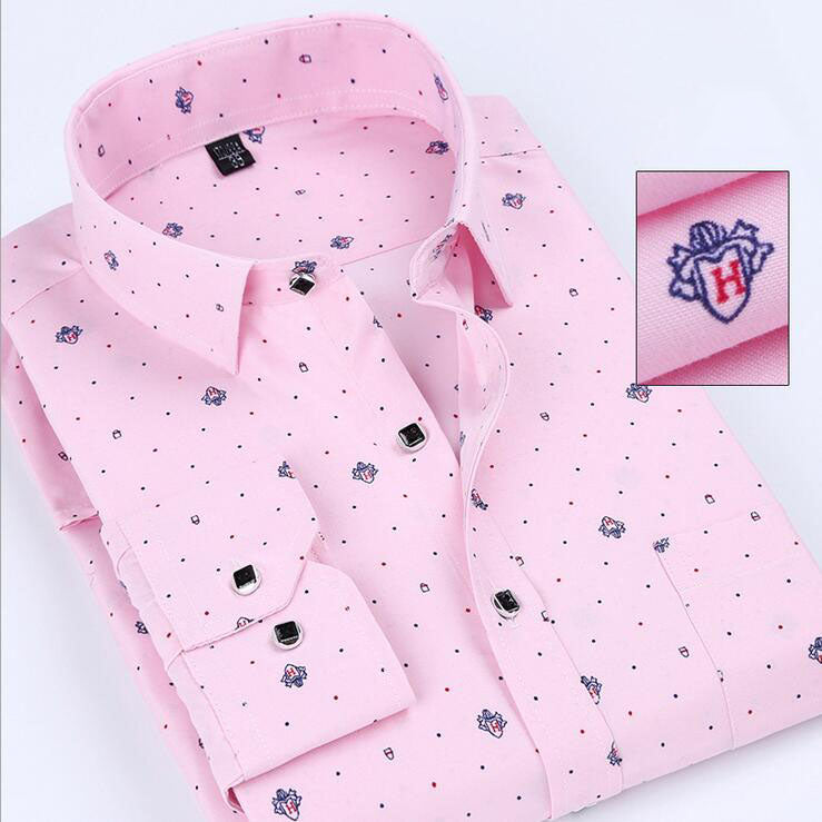 2017 Full Cotton New Size 38-44 Printed Man Casual Shirts Dress Classic Men Long Sleeve Slim Fit Fashion Cheap Clothes For Male  1