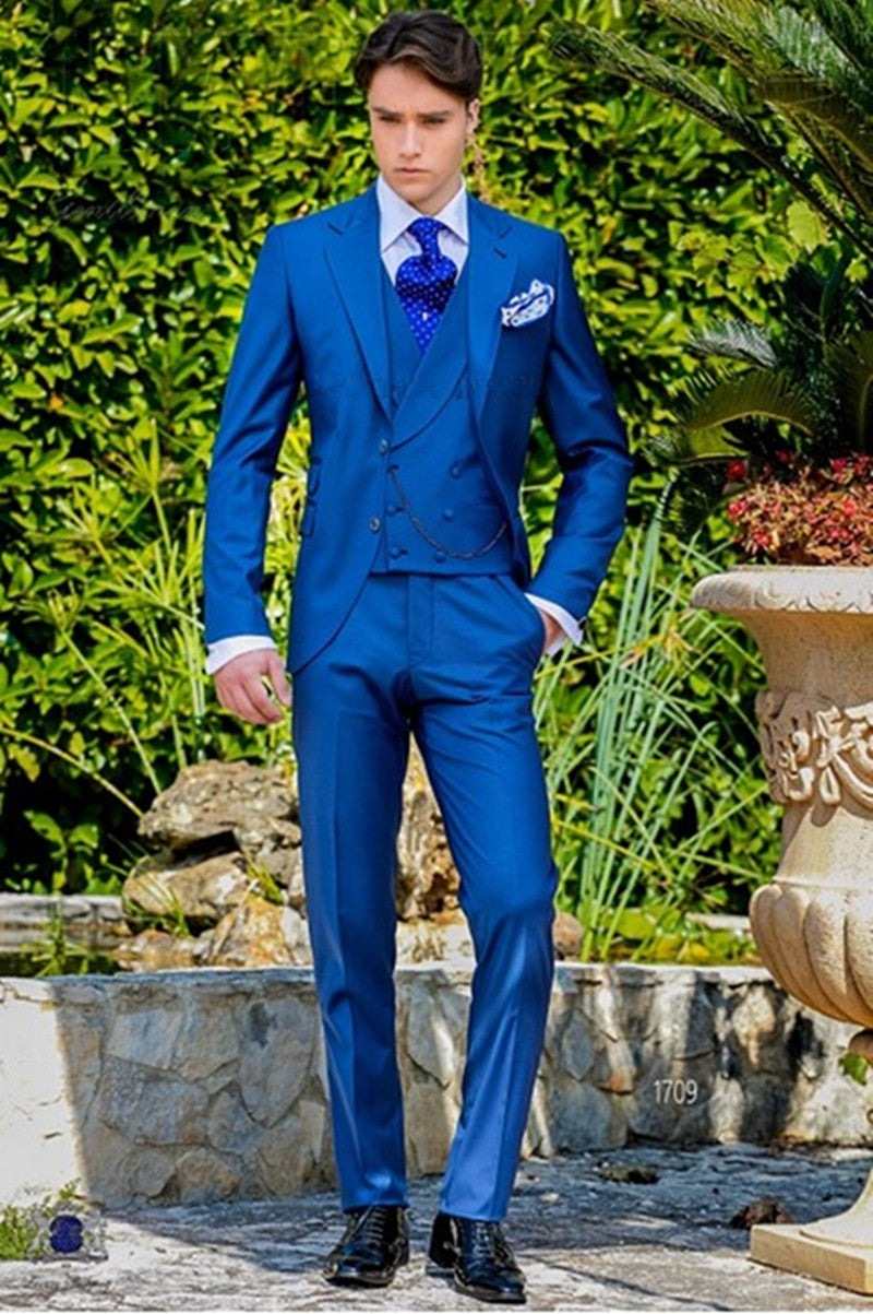 2017 Latest Coat Pant Designs Royal Blue Italian Men Suit Classic Gentle mens Tuxedo Prom Blazer Custom 3 Piece Jacket Masculino