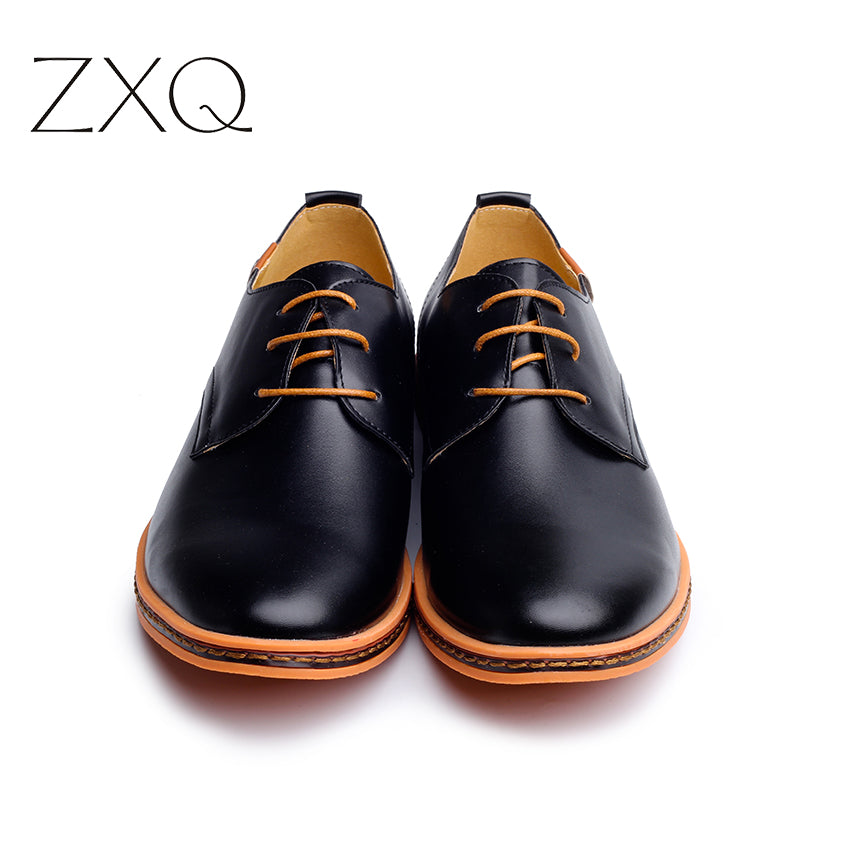 2017 Leather Casual Men Shoes Fashion Men Flats Round Toe Comfortable Office Men Dress Shoes Plus Size 38-48