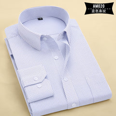2017 Long Sleeve Shirt Men White Striped Twill Shirt Brand Clothing Casual Mens Dress Shirts Camisa Masculina Chemise Homme 1