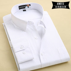 2017 Long Sleeve Shirt Men White Striped Twill Shirt Brand Clothing Casual Mens Dress Shirts Camisa Masculina Chemise Homme